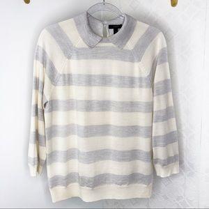 J.Crew Grey & Cream Wool Striped Sweater